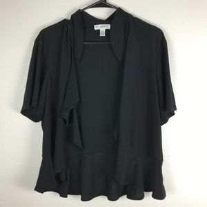 3/20 Dressbarn Ruffled Short Sleeve Silky Cardigan